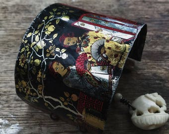 Chinese tea tin bracelet cuff | Geisha tin, assemblage bracelet, mixed media, rustic primitve, cuff bracelet, Boho cuff bracelet, tin bangle