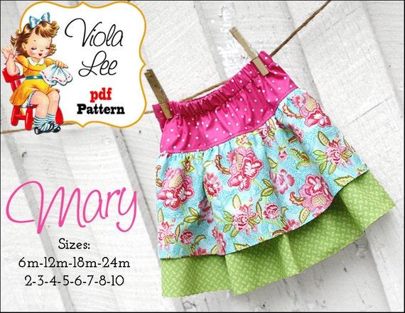Mary Girl's Skirt Sewing Patterns. Ruffle Skirt Pattern. PDF Sewing Pattern, Girl's Skirt Patterns, Toddler Skirt Pattern. Infant Skirt. pdf