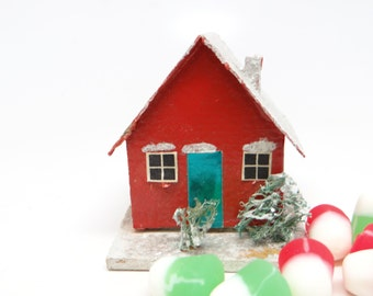1940's German House Candy Container, Wooden Base, for Christmas