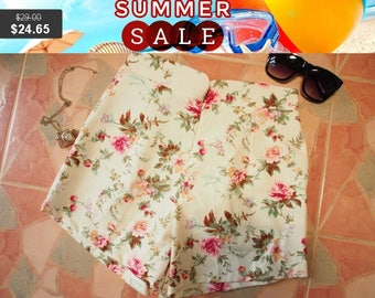 """Clearance SALE Floral High Waist Shorts - Shabby Chic Rose - Summer Shorts - Free Size Waist 26""""-28"""", Hip 35""""-37"""""""