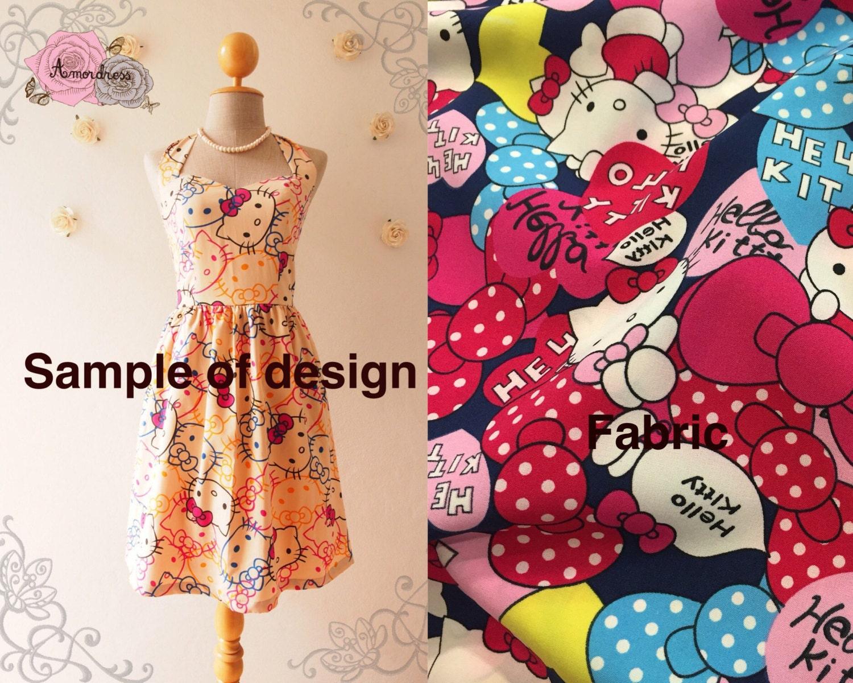 Design your own hello kitty t-shirt - Hello Kitty Cute Sundress Navy Kawaii Halter Dress Sweetheart Bust Line Summer Dress Retro Vintage Bridesmaid Dress Xs Xl Custom