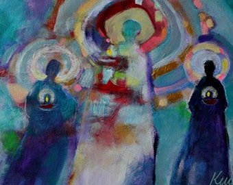 "Spiritual Art, Angel Painting, Acrylics on Canvas, Blue, Modern, ""Tenders of the Flame"" 12x24"