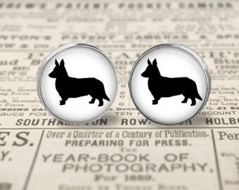 Cardigan Welsh Corgi Dog Button Earrings