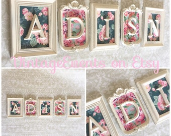 Nursery Baby Name -Shabby Chic Monogram - vintage style  - floral - Glass N Backing