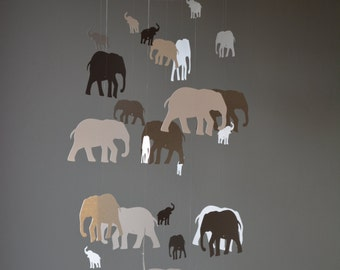 Elephant nursery mobile or baby mobile made from grey shades card stock -- Handmade mobile, baby gift or nursery decor