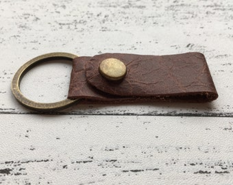 SECONDS SALE Rustic mens Brown leather key fob - leather keyring - gifts for men - husband gift - leather gift - Christmas in July CIJ