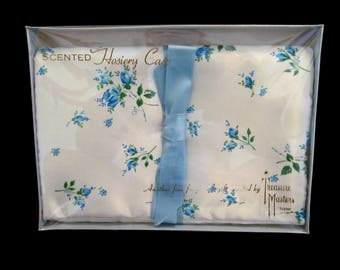 Vintage NOS Hosiery Case Scented Sachet Lingerie Pouch White & Blue Floral Satin by Treasure Masters Still Sealed in Original Box
