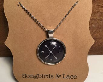 Black Compass Pendant Necklace on silver setting- 25mm