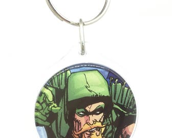 Upcycled Comic Book Keychain Featuring - Green Arrow and Black Canary