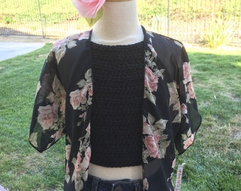 NEW!! Girls Black Chiffon Floral Kimono, Pink Roses Girls Kimono, Pom Pom Trim, Beach Cover up, Swim Suit Cover Up, Cardigan, Toddler Kimono