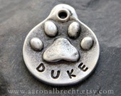 Personalized Dog Tag Pet Tag Dog Tags Custom Dog ID Tag Hand Stamped Pet Tag Pewter Paw Print