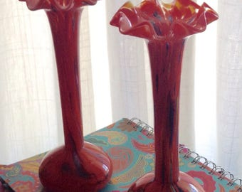 Czech Glass Art Vases Red Spatter