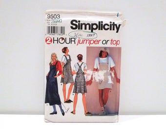 Overalls Dress Vintage Butterick 9503 Sewing pattern Sportswear Bib Jumper Denim Jeans Midi Prairie Dress T shirt top blouse 4 6 8 1990s