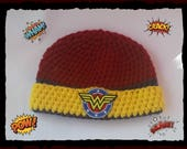 Wonder Woman Baby Hat Wonder Woman  Baby Shower Gift Baby Toddler or Kids Size Handmade Crochet Made to Order