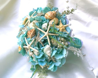 Aqua Blue SeaShell Brooch Bouquet. READY TO SHIP