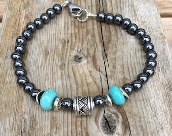 Men's Hematite Bracelet,Wrist Mala Mens Beaded Bracelet, Men's  and Women's Hematite and Turquoise Bracelet with Clasp .