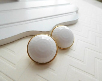 Vintage Monet Chunky White Faceted Dome Gold Tone Clip On Earrings C17