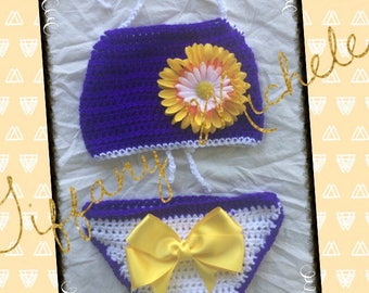 Boho Baby Halter Top and Diaper Cover Outfit