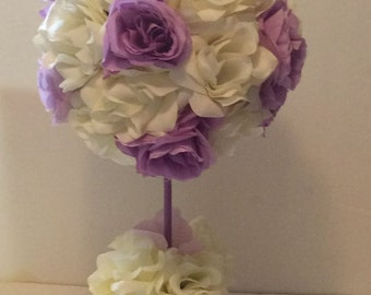 Lavender Cream Roses , Topiary, Wedding Flowers, Reception Tables, Table Flowers, Topiary Tree