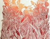 Large floral linocut print