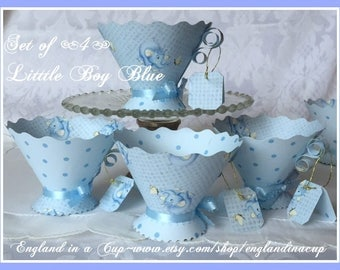 Teacup Favors Baby Shower Tea, Blue Teaparty Favors, Baby Shower Favors, Blue Teacups, Blue Paper Teacup Favors, Blue Elephant Teacup Favors