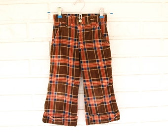 Vintage 70s youth size boys or girls childrens retro brown plaid bell bottom pants size 4 4T 5