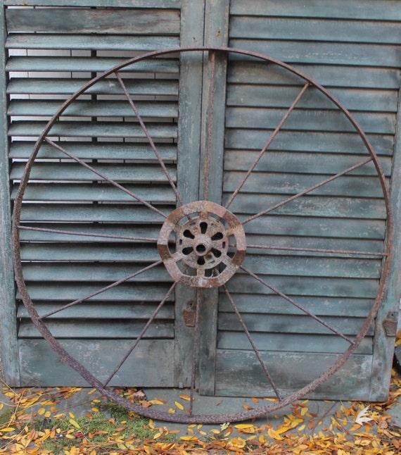 Iron Tractor Wheels : Antique wagon wheel iron farm house wall hanging