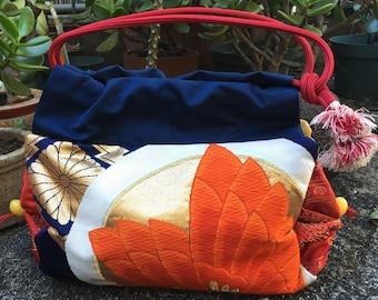 One-of-a-kind vintage Obi belt bag with Obijime handle