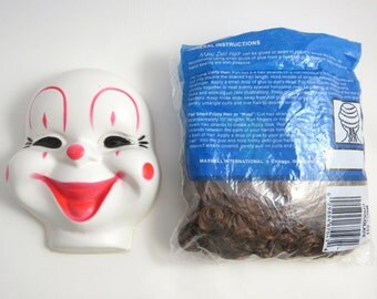 """Vintage Clown Face, Hair, Clown Making Supplies, White with Painted Face 5"""", Doll Face"""