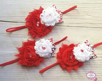 Red and white headband,  double flower headband, Shabby flower headband, holiday headband, Christmas headband
