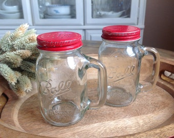 Adorable Vintage Farmhouse Mason Jar Salt and Pepper Shakers with Red Metal Lids