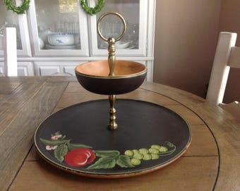 Gorgeous Robinhood Ware Black Hand-Painted Farmhouse Hand-painted Wooden Tiered Tidbit Plate