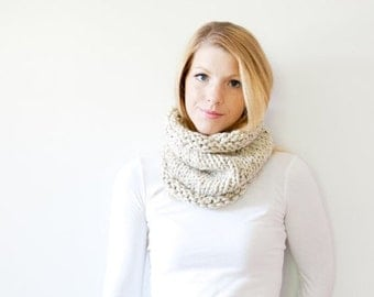 WINTER SALE The SOLOMON cowl - knit scarf chunky scarf cowl scarf  - oatmeal