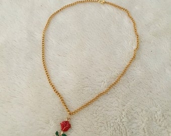 Red rose necklace gold chain
