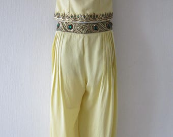 Vintage Silk  Ali Baba Harem Yellow Sequin Design Two Piece