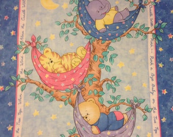 Teddy bear, tiger Elephant, rock a bye baby fabric panel, Princess Fabric Line, Baby Quilt Panel Stuffed Animals