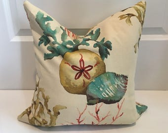 Sealife Water Color Floral Pillow Covers in Designer Fabric