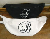 A Pair of Embroidered Fanny Packs - Hip Bags - Bride and Groom - Mr and Mrs - Weddings - Monogrammed