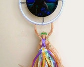 Handmade Positively Pagan Ostara Goddess doll with Lisa Parker. Moon Gazing Hare Wall hanging.