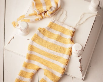 Yellow Stripe Knit Romper with Matching Fray Bonnet Newborn Photography Prop Girls or Boys