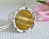 One handle tea strainer, vintage Swedish gold and silver plate, afternoon tea utensil