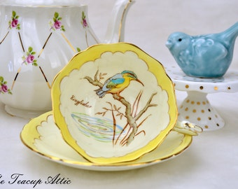 Rare Paragon Kingfisher Teacup and Saucer, English Bone China Tea Cup And Saucer Set, ca. 1939-1949