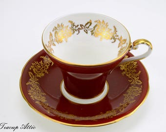 Aynsley Gorgeous Deep Red Corset Teacup and Saucer With Gold Overlay,  English Bone China Tea cup Set, Tea Party, ca. 1934-1939