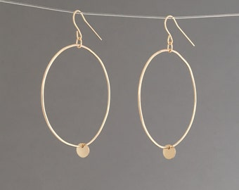 Gold Hoop Earrings With Dangling Disk Also Available in Rose Gold and Silver