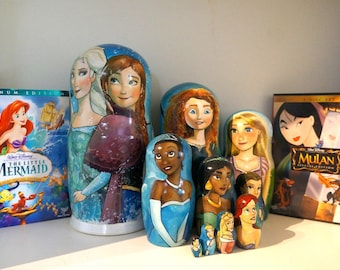 Set of Ten Disney Princesses Hand Painted Russian Matryoshka Art Nesting Dolls