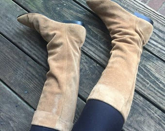 Vintage Light Tan Suede Tall Boots size 8