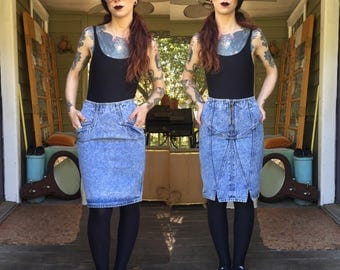 Vintage Gitano Reversible Acid Wash Denim Skirt xs 2
