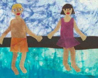 Batik Fabric Collage Art Sixty-Eight Degrees Archival Print (Barton Springs)