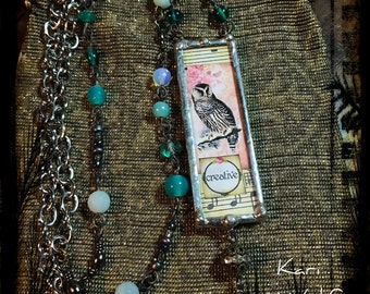 Owl, Soldered, Glass, Necklace, Bird Eggs,  Beach, Boho, Gypsy, Beachy, Turquoise Tones, Good Vibes, Created By: Kari Wolf Designs