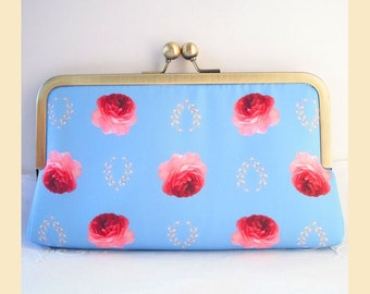 Clutch bag, handmade with little roses digital print, cream interior, antique brass or silver frame, optional personalisation, blue handbag
